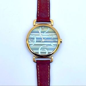 Vintage Fossil watch tan leather band striped face